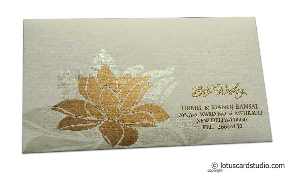 Exclusive Sized Ivory Color Envelope with Golden Lotus