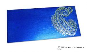 Blue Shagun Envelopes with Hot Foil Golden Paisley Flower