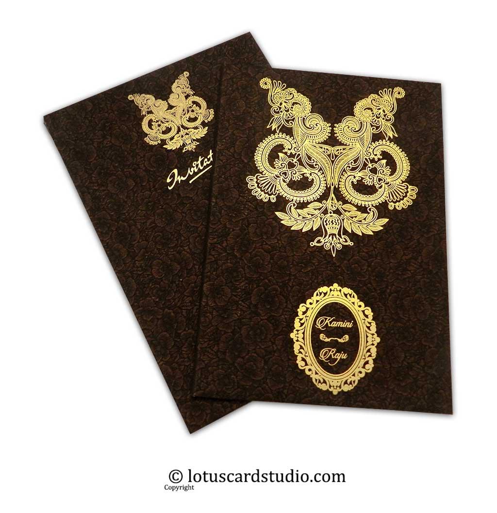 Floral Flocked Designer Wedding Invitation Card in Brown