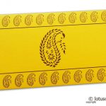 Traditional Brown Paisley Print on Yellow Shagun Envelope