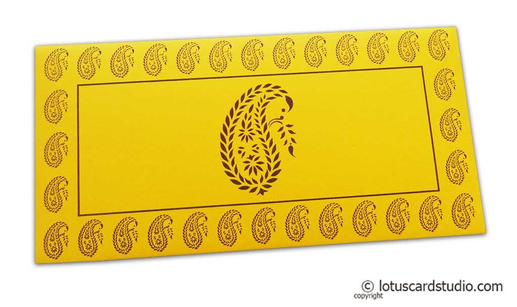 Traditional Brown Paisley Print on Yellow Shagun Envelope