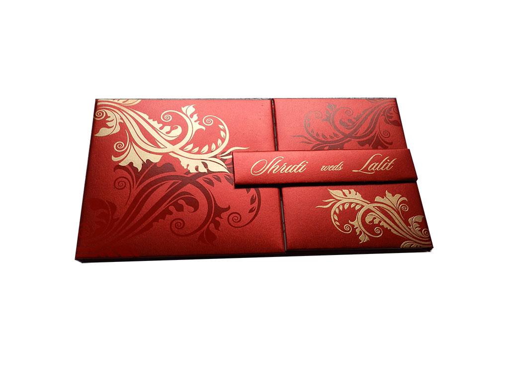 red magnet dazzling wedding card with golden flower design