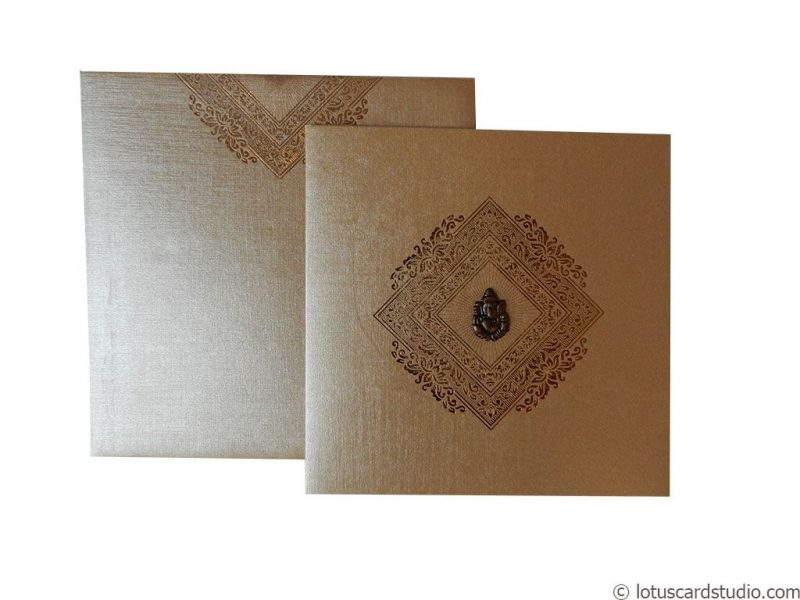 Classic Golden Brown Indian Wedding Invite
