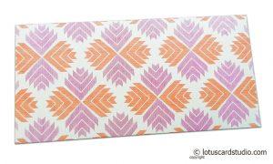 Classy Designer Shagun Envelope with Orange Pink Jagged Design