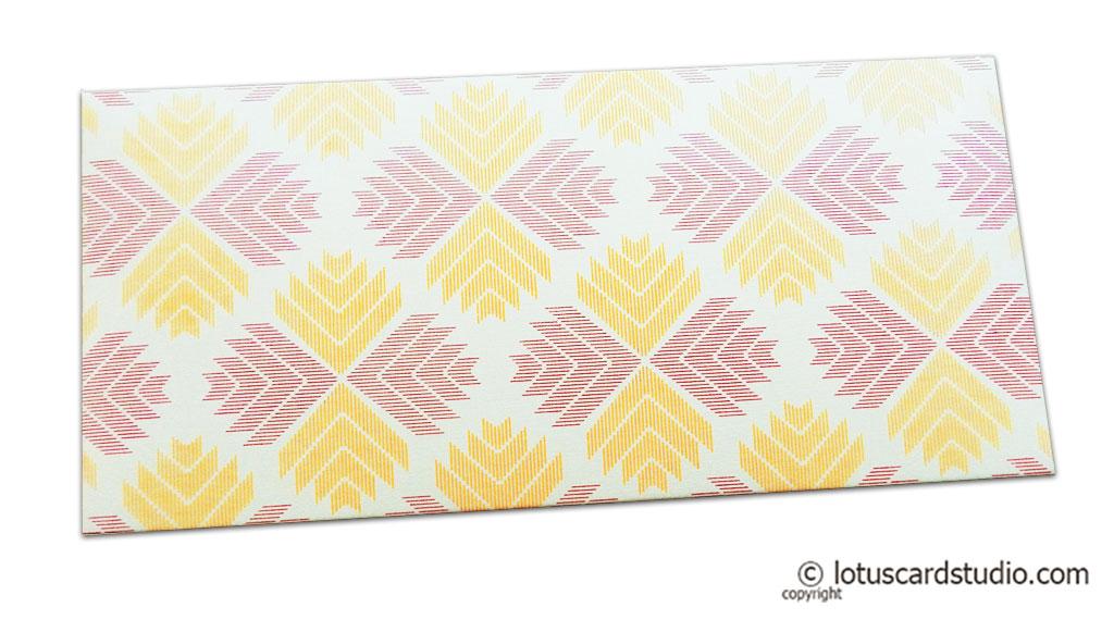 Classy Designer Shagun Envelope with Magenta Yellow Jagged Design