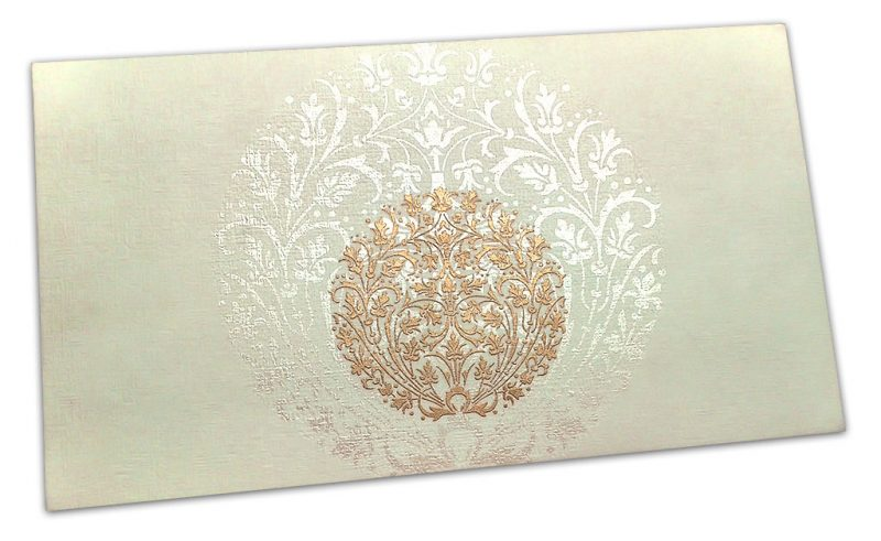 Exclusive Sized Golden Crown Flower Money Gift Envelope in Ivory