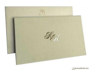 Elegant Wedding Card in Ivory Velvet
