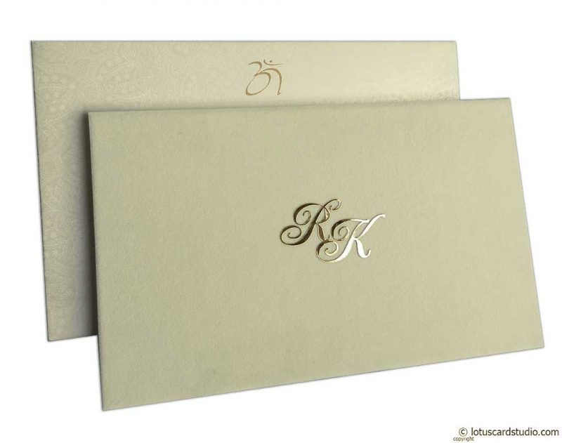 Elegant Wedding Card in Ivory Velvet