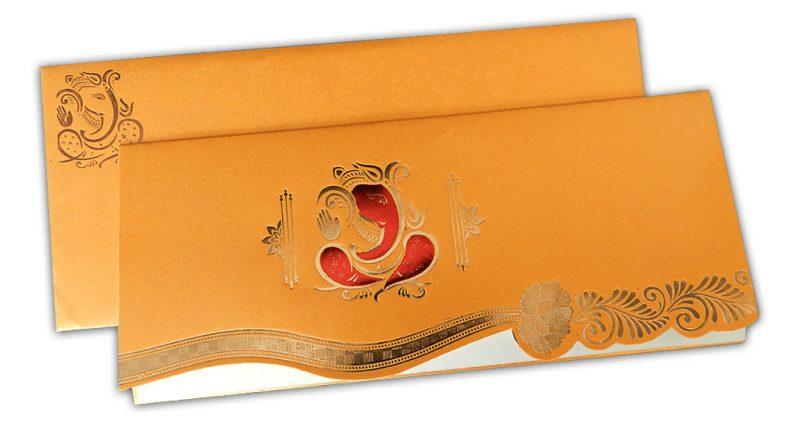 Ganesha Indian Wedding Card in Golden