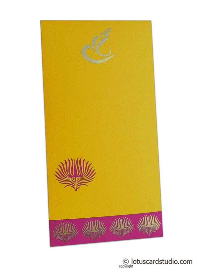 Lotus Theme Shagun Envelope in Yellow