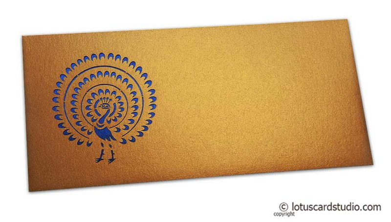 Gift Envelope in Pure Gold with Laser Cut Peacock