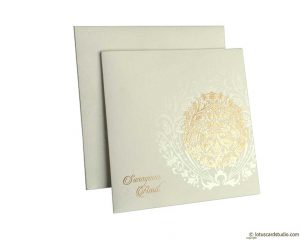 Golden Crown Design Wedding Card Invitation