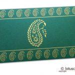 Traditional Golden Paisley Print on Dark Green Gift Envelope