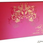 Envelope front of Golden Swirl Floral Marriage Invitation Paradise Pink