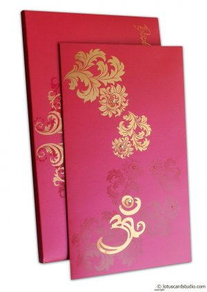 Golden Swirl Floral Marriage Invitation Paradise Pink