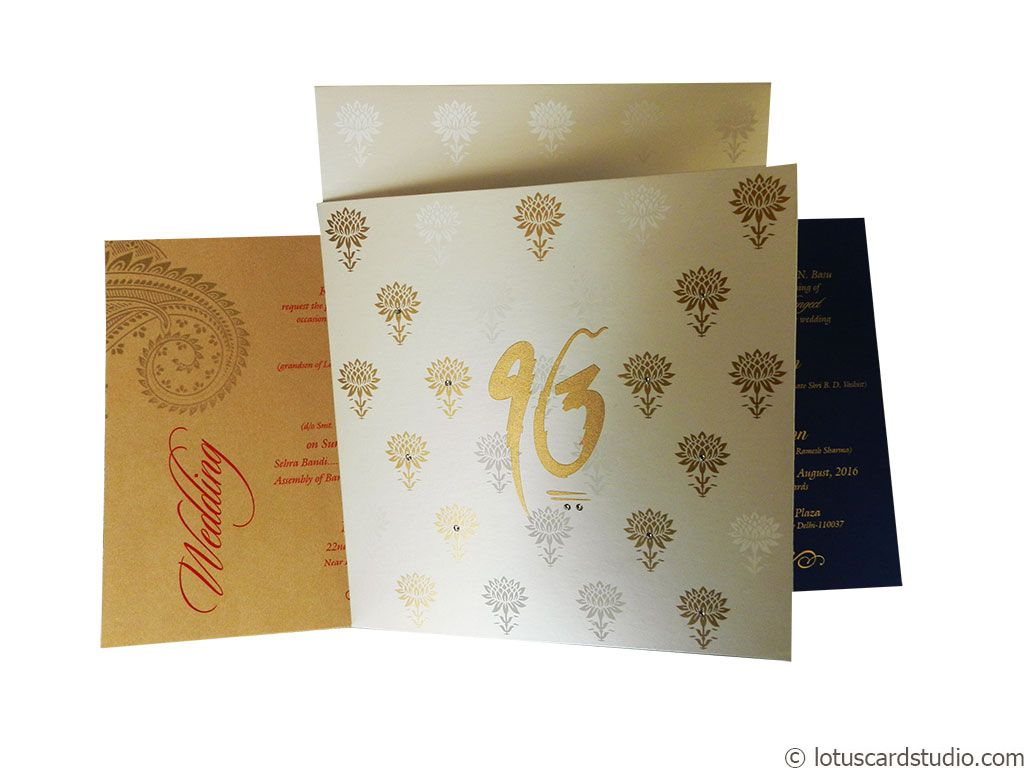 Lotus Themed Metallic Wedding Invitation Card