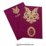 Floral Flocked Designer Wedding Invitation Card in Magenta