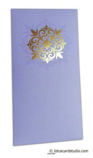 Golden Hot Foil Floral Printed on Lavender Envelope