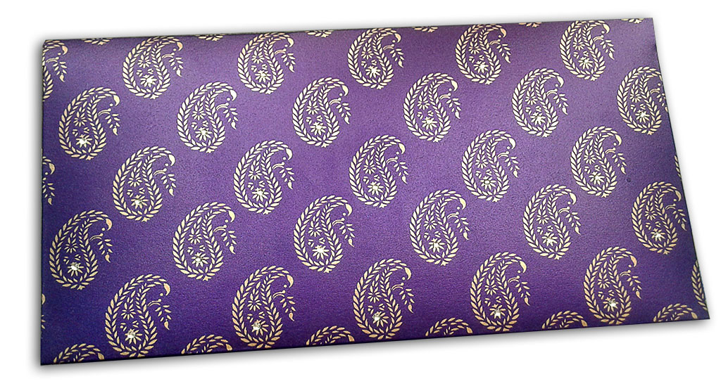Exlusive Sized Paisley Design Gift Envelope in Super Indigo