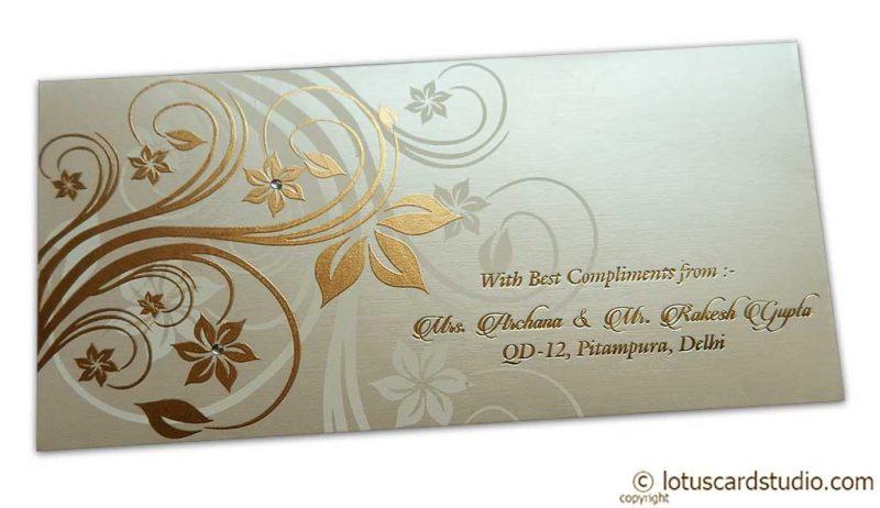 Perfumed Envelope with Golden Floral Design