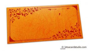 Perfumed Money Envelope in Amber Orange with Red Floral Vector Design