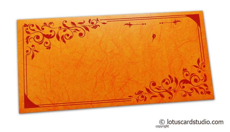 Perfumed Money Envelope in Amber Orange with Red Floral Vector Design