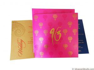 Lotus Themed Pink Wedding Invitation