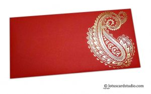 Red Shagun Envelopes with Hot Foil Golden Paisley Flower