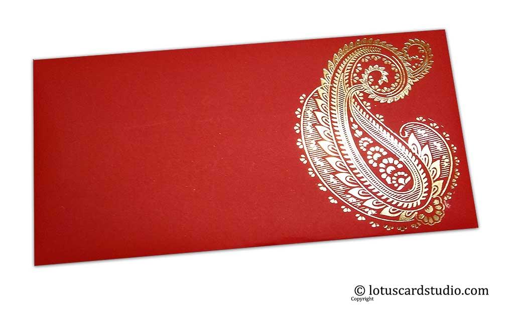 Red Shagun Envelopes with Hot Foil Golden Paisley Flower