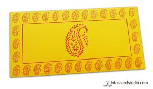 Traditional Red Paisley Print on Yellow Shagun Envelope