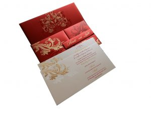 Red Magnet Dazzling Wedding Card with Golden Flower Design