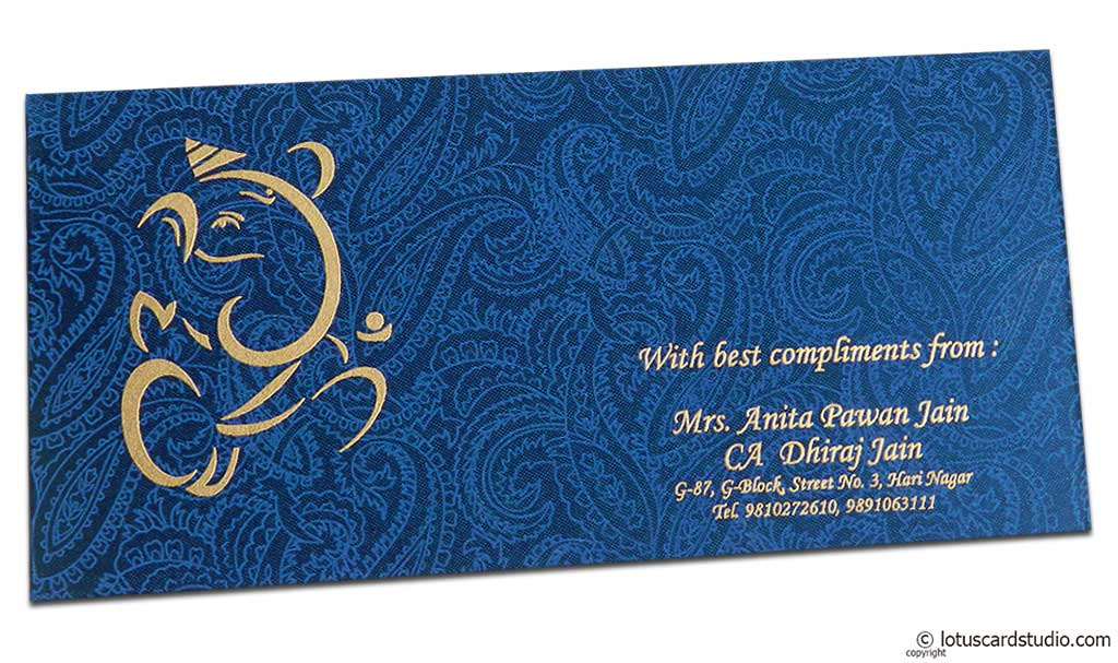 Shagun Envelope in Sapphire Blue Satin Fabric