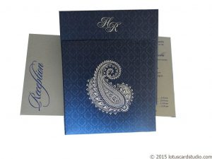 Beautiful Paisley Theme Imperial Blue Wedding Card