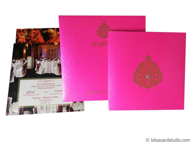 Dazzling Wedding Card in Mexican Pink Theme