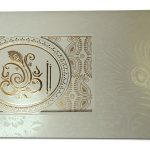 Card front of Wedding Invite with Embossed Mor Pankh