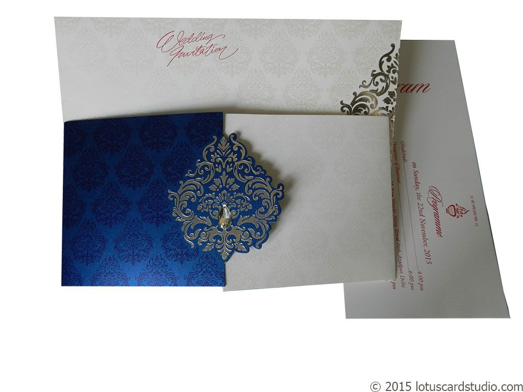 White and Blue Theme Wedding Card