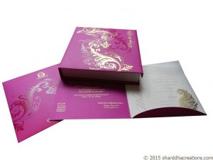 Beautiful Pink Card cum Box Invite