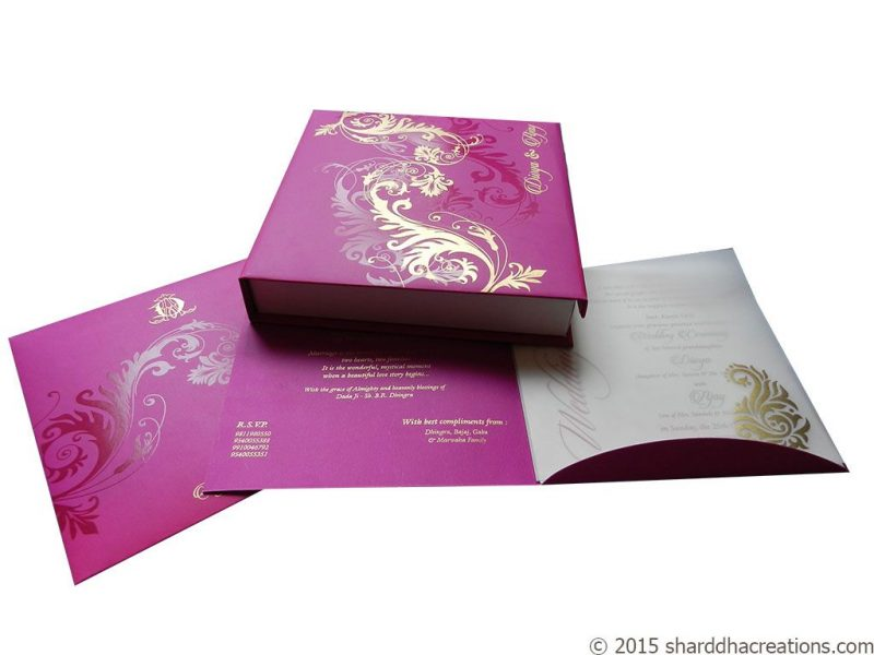 Beautiful Pink Card cum Box Invite