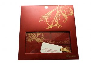 Boxed Wedding Invite in Red with Golden Floral Pattern