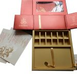 Inside of Boxed Wedding Invite in Red with Golden Floral Pattern