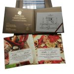 Card and inserts of Magnificent Boxed Wedding Invitation in Brown and Golden Theme