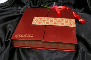 Boxed Wedding Invitation Card in Red with Motif Design