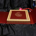 Box inside - Boxed Wedding Invitation Card in Red with Motif Design