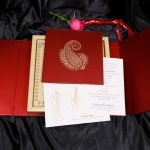 Card and inserts of Boxed Wedding Invitation Card in Red with Motif Design