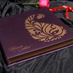 Boxed Wedding Card in Purple with Golden Motif Design