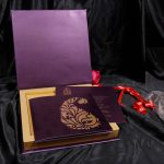 Box inside - Boxed Wedding Card in Purple with Golden Motif Design