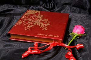 Box Wedding Card in Red with Golden Floral Pattern