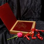 Box inside - Box Wedding Card in Red with Golden Floral Pattern