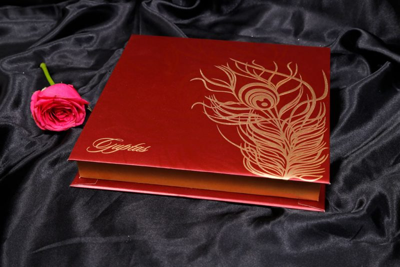 Boxed Wedding Card in Red with Golden Mor Pankh