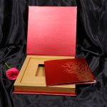 Box inside - Boxed Wedding Card in Red with Golden Mor Pankh